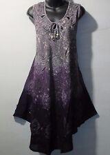 Dress Fits 1X 2X 3X Plus Sundress Tunic Purple Gray Stamp Art A Shaped NWT 7114