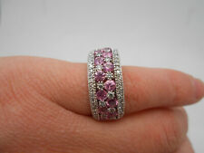 Gorgeous Designer EFFY 14k White Gold Pink Sapphire & Diamond Ring Wide Band 9