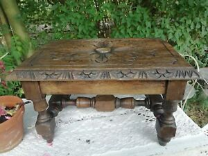 Vintage Carved Oak Jointed Foot Stool Small Occasional/Plant Table