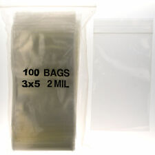 "100 3""x5"" ZIPLOCK BAGS Clear 2MIL Small Poly Bag Reclosable Bags Plastic Baggies"