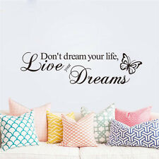 Live Your Dreams PVC Art Decal DIY Decor Quote Homes Walls Sticker Removable