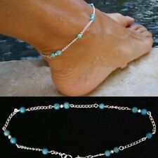 Europe Style Imitation Turquoise Beads Silver Ankle Bracelet Anklet Foot Chain