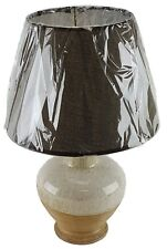"""Ceramic 15"""" Table Lamp and Shade White / Brown Finish Night Stand Counter U/L"""