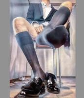 1 Paire mi bas socks sheer noir  V10-20 Taille-42/44 pointe talon renforcé