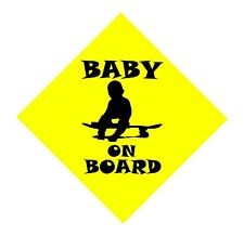 "NEW BABY ON BOARD. yeld sign on skateboard  custom vinyl decals  7""x 7in."