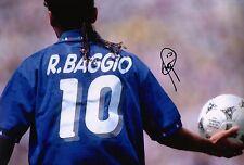Roberto BAGGIO firmato 12x8 ITALIA 94 stupefacente Prova AFTAL COA (1519)