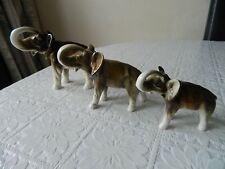 3 X vintage Royal Dux Porcelain elephant figurines