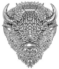 WILD BUFFALO HEAD STAINLESS STEEL RING size 9 silver metal S-509 with HORNS new