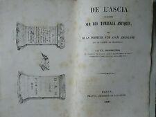 DE L'ASCIA SCULPTEE SUR DES TOMBEAUX ANTIQUES, 1850.
