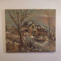 N2091 Peinture huile toile lin sur châssis bois signature G. BERGER 84 France