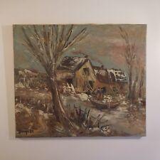 Peinture à l'huile toile lin oil painting linen canvas signature G. BERGER 84
