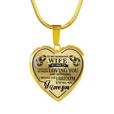 My Gorgeous Wife I Love You Husband Gold Necklace Birthday Gift Anniversary
