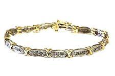 """10k yellow gold .9ct round diamond SI3 I tennis bracelet 8.5g vintage XOXO 7"""""""