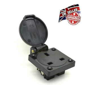 Caravan Camper Socket 13AMP Black Panel Mount Connector 230V IP54 UK Mains
