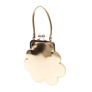 RRP €825 SIMONE ROCHA Laminated Leather Flower Clutch Bag Kiss Clasp Closure
