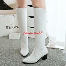 Womens ladies  Cuban Heel Knee High Long Riding Boot Zip Leather Shoes