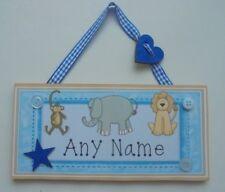 Zoo Safari Animal Personalised Childrens Kids Name Door plaque Sign Childs Wood