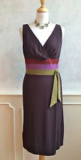 KAY UNGER Designer Brown Green Purple Formal Occasion Cocktail Dress Small 8