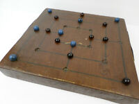 Vintage Handmade Wooden Marble Board Game: Nine Men Morris, Mill, Shepard's Game