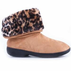 ISOTONER TAMMI Women's Microsuede Boot Slippers Cheetah FauxFur Buckskin Tan