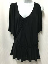 Baby Phat Black Dressy Shirt Cold Shoulder Blouse Sz.S Tunic Low V-Neck Top