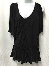 Baby Phat Black Cold Shoulder Shirt Sz.S Womens Peplum Low V-Neck Pleated Shirt