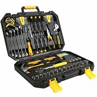 128PC Mechanics DIY Hand Tool Kit Set Deluxe Metric Socket Wrench Screwdriver