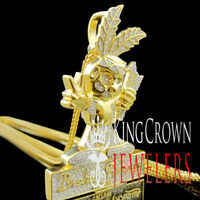 Mens Custom Piece Real Yellow Gold On Silver Charm Simu Diamond Pendant + Chain