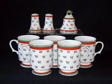 8 piece Lot LEFTON CHINA HOLLY & BERRY Mugs/Cups/Salt & Pepper Shaker/Bell