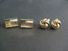 Gold & Silver Tone One is Gold Tone Free Ship Two Pair Vintage Cuff Links One is
