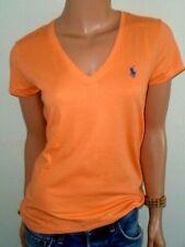 Polo Ralph Lauren Pony Pima 100 Cotton Jersey V-neck Tee Shirts All Sizes Bright Pap Orange S