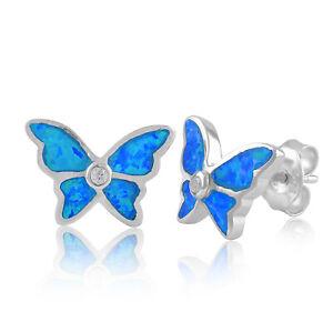 Sterling Silver Created Blue Opal Butterfly Stud Earrings