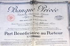 BANQUE PRIVEE COLONIALE LYON MARSEILLE DE 1924 ACA