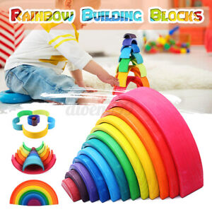 Wooden Rainbow Stacker Building Blocks Stacking Nesting Toys Kids Toddlers Gift