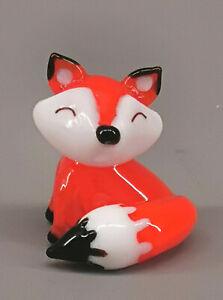 9912007-x Glas Figur kleiner Fuchs sitzend H2,5cm mundgeblasen