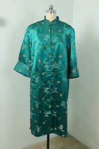 Vintage 40s Chinese Jade Green Quilted 100% Silk Robe Kimono Jacket Metallic XL