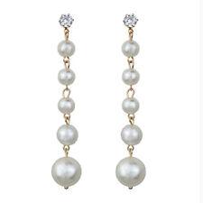 Damenmode Große Perle Lange Quaste Anhänger Ohrringe Kristall Elegant Ohrstecker