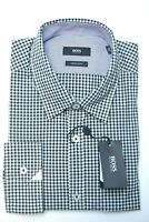 Hugo Boss Men's Obert Regular Fit Black Plaids Cotton Casual Dress Shirt M