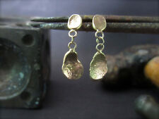 14k Yellow gold earrings with unique design.Handmade drop dangle gold earrings.