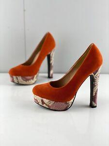 Boohoo Women's Platform Stiletto Pump High Heel Shoes Size 5 Orange Snakeskin