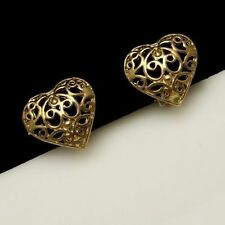 Vintage Clip Earrings Pretty Gold Plated Filigree Hearts Love Valentine