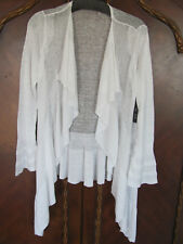Nic+Zoe Ruffled Cascading Drape Front Cardigan-Paper White- Size Small- NWT $158