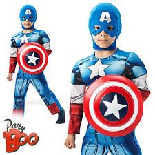 Deluxe Captain America + Shield Age 5-6 Boys Fancy Dress Avengers Kids Costume
