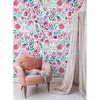 Removable wallpaper Purple vintage flowers Peel and stick Self adhesive Floral