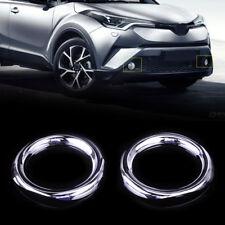 2pcs ABS Chrome Front Fog Lamp Light Circle Cover Trim For Toyota C-HR 2016-2017