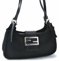 Authentic FENDI Shoulder Hand Bag Canvas Leather Black B7397