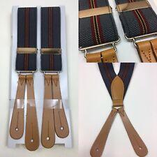"Vintage 1930s/40s Pattern button braces Leather End 35mm 44"" Grey/red V Back"