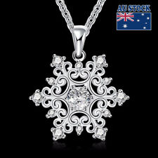 NEW 925 Sterling Silver Filled FROZEN SNOWFLAKE Crystal Pendant Chain Necklace