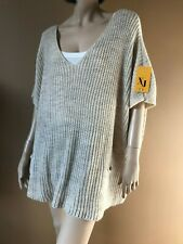 BNWT MADE IN ITALY MOHAIR MIX BEIGE OVERSIZE SWEATER XL