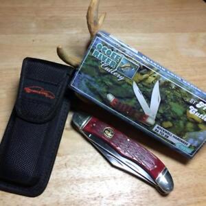 "Frost Ocoee River Red Pick Bone Folding Hunter 5 1/4"" Pocket Knife FOC550RPB"